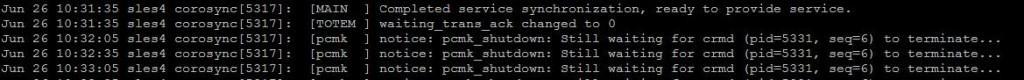 SUSE cluster log - pcmk messages