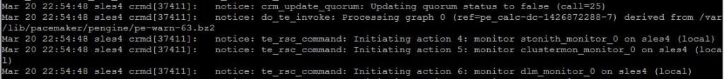 SUSE cluster log crmd messages