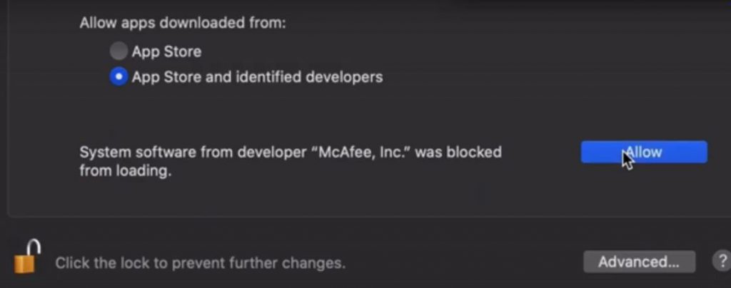 Where to provide user consent to allow McAfee ENS kernel extensions?