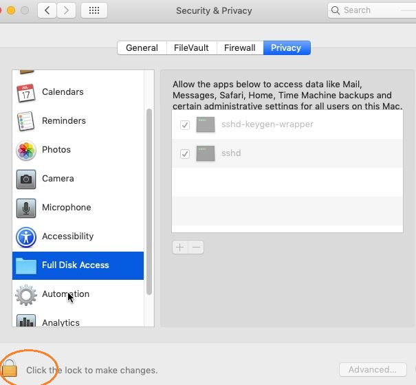 Shows how to grant full disk access to McAfee ENS services - Snap1