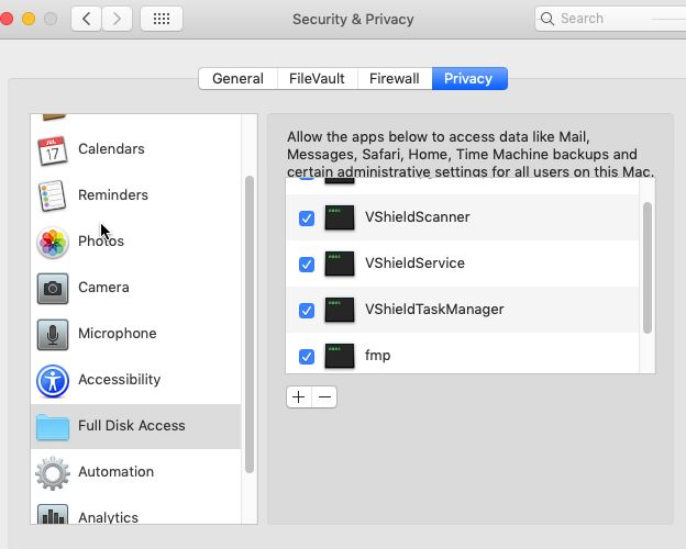 Shows how to grant full disk access to McAfee ENS services - Snap4